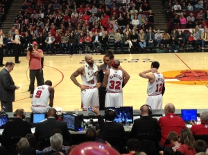 Bulls starters at the January 12, 2013 game vs. the Suns, from my ninth row seat.