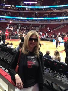 "Bulls Banter author Cindy Joy ""Cinjo"" Olsen at the Bulls vs. Heat game March 9, 2014."