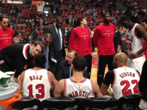 The guys and Thibs. View from my seat.